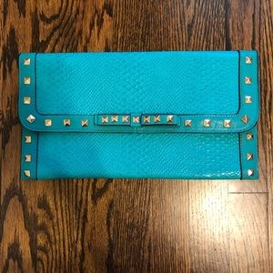 Turquoise Faux Snakeskin Clutch